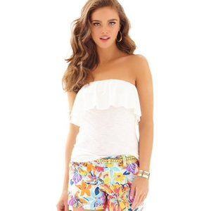 Lilly Pulitzer White Ruffle Tube Top